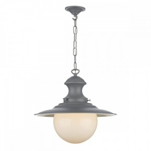 David Hunt Lighting Baby Station Lamp Single Light Ceiling Pendant In Lead Grey Finish With Opal Glass Globe.jpg